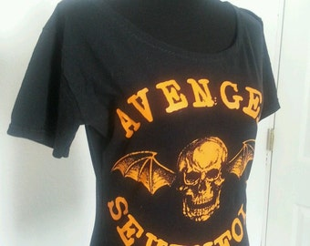 Avenged Sevenfold ladies scoop neck boat neck feminine fitting top Avail in Small or Medium Heavy metal rocker band shirt