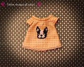 bulldog top - hand embroidered top for Blythe