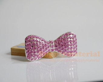 1PCS Bling pink Crystal Bowknot ties Flatback Alloy Jewelry accessories For Phone case deco