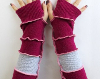Driving Gloves - Fingerless Gloves - Handmade Clothing - Texting Gloves - Upcycled Clothing - Wrist Warmers - Long Arm Warmers - Arm Gloves