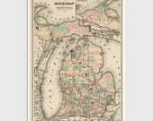 Old Michigan Map Art Print 1876 Antique Map Archival Reproduction