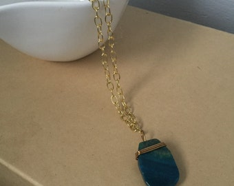 Gold Wire Wrapped Blue Agate Necklace