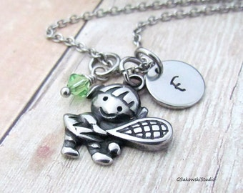 Tennis Player Stainless Steel Charm Necklace, Personalized Hand Stamped Initial Birthstone Tennis Girl Charm Necklace