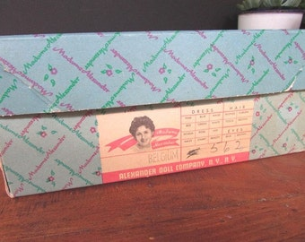 Green Box Vintage Square Empty Alexander Doll Box Storage