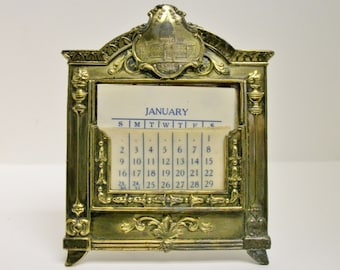 Antique State House Denver Colo Perpetual Calendar Ormolu Celluloid Headers J B 1747