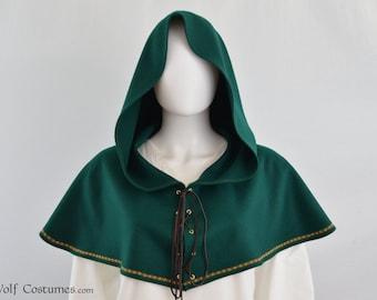 Wool Fantasy Hood - Medieval, Renaissance, elven, archer, ranger, huntsman, costume, cosplay, LARP - color options!