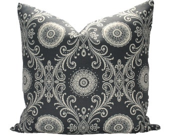Decorative Outdoor Charcoal Grey, Medallions, pillow cover, 18x18, 20x20, 22x22 or lumbar, throw pillow