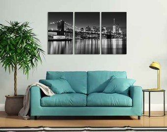 NYC Skyline Photography Print, Large Canvas Art, 3 Panel Triptych, Black White Brooklyn Bridge New York City Photograph, Cityscape Artwork