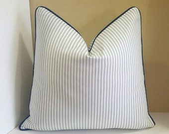 Light Blue Ticking Stripe Pillow Cover with Navy Trim Detail - All sizes available, pick your size during checkout