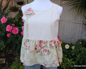 Shabby Cottage Chic Women's Clothing / Unique Ladies Shirt / Junior Clothes Tattered Raw Mori Girl Top / Reloved Clothing Co