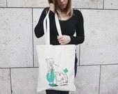Knitting Project Tote Bag / YarnBag/ Screenprinted Canvas Tote Bag