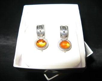 Amber Jewelry, Earrings Pierce  Lori Bonn Amber Brown Designer Sterling Silver 925