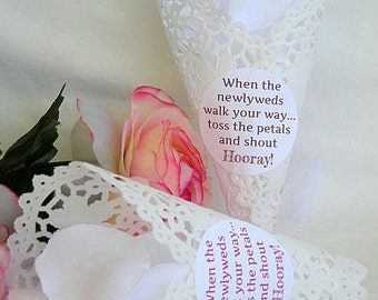 Wedding Petal Cone Cones Paper Lace w String Custom Personalized Stickers Birdseeed or Flower Petal Toss Doily Cone Custom Doily Petal Cones