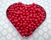 SALE--100pc 8mm red Pearl beads,faux pearl beads,plastic beads