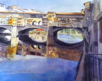 Ponte Vecchio Bridge Original Watercolor Tuscany Italy Small Painting Italian Art Violet Yellow Reflections of Ponte Vecchio Painting
