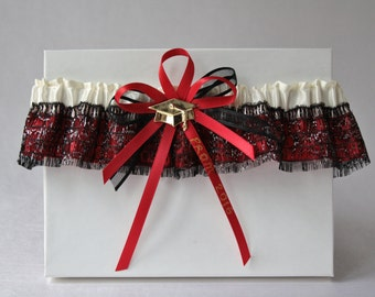 Red and black Prom garter/Black 2017 Prom garter/Satin prom garter/Sparkling black garter/Custom garter/Ready to ship/Lingerie Prom 2017
