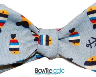 BowTie Logic Fish and Anchors on Light Grey Cotton Self Tie Bow Tie
