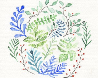 Blue Leaves Botanical- Watercolor Painting Print-Nature Art