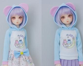Slim MSD or SD BJD hoodie - Little Twin Stars Bear Ears