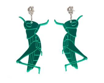 Grasshopper earrings - laser cut green mirror acrylic