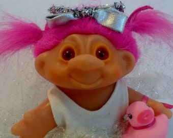 VintageTROLL DOLL with Pink Hair * Thomas DAM Princess Ballerina Troll Doll with Pink Rubber Duck * Pink Neon Hot Pink Hair