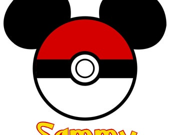 Pokemon Ball Mickey Personalized Custom Iron on Transfer Decal (iron on transfer) Disney Iron On Matching Family Shirts with names