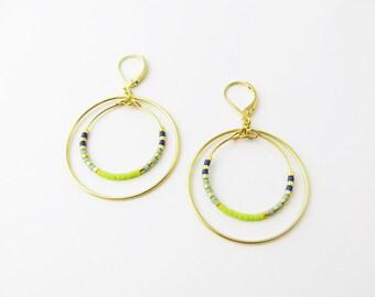 Gold circle earrings // Green beads circles earrings //  // Gold and green dangle earrings // Double circles earrings