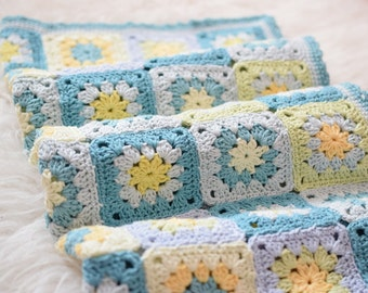 Crocheted Blanket, Cotton Blanket, Blue, White, Yellow, Green Blanket, Shower Gift, Photo Prop