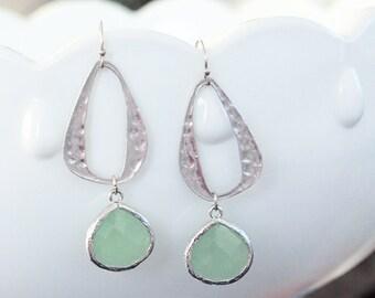 Silver Earrings - Mint and Silver Dangle Earrings - Mint Earrings - Mint Bridesmaid Earrings - Seafoam Mint Green Dangle Earrings - Jewelry