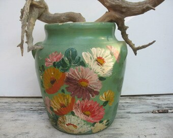Ransburg pottery, sage green jar, painted flowers, stoneware jar Indianapolis 1940's, hand painted folk art