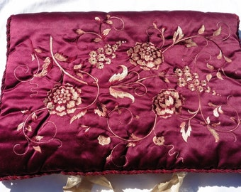 French Vintage ,French Antique Silk, Silk Flower Embroidery, Claret Vintage Silk, Paris France,  Pillow Sachet Boudoir Shabby and Chic