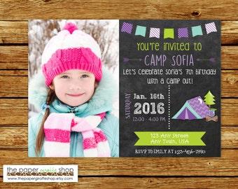 Camping Birthday Chalkboard Invitation with Photo   Purple Camping Invitation   Glamping Invitation   Glamping Party   Glamping Birthday