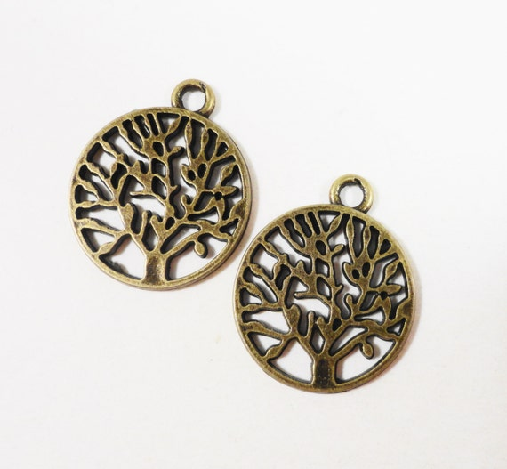 Bronze Tree of Life Charms 20x15mm Antique Brass Tree of Life Charm, Bronze Round Tree Charms, Nature Charms, Tree of Life Pendant 10pcs