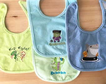 4 Sassy Embroidered Baby Bibs For Boy or Unisex With Shark, Monster, Nom Nom, Food Fight, Super Fun and Unique Designs! Infant Size