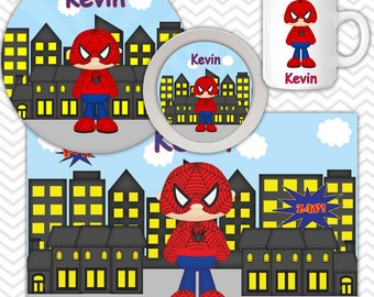 Spiderman Plate Bowl Mug Set - Personalized Spiderman Plate Set - Customized Plate, Bowl, Mug - Melamine Plate, Bowl & Set for Kids