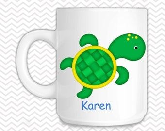 Turtle Kids Mug - Personalized Turtle Mug - Customized Mug - Melamine Cup - Personalized Kids cup