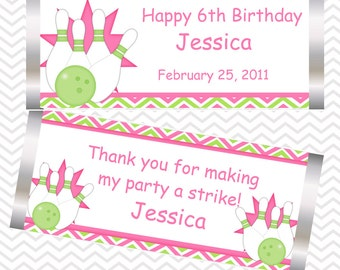 Bowling Pink - Personalized Candy Bar Wrapper