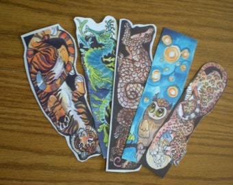 Five Printed Bookmarks signed by artist