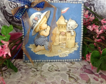 "3D Tile, Girl and her Kitty at the Beach, 4x4"" tile art with Easel"