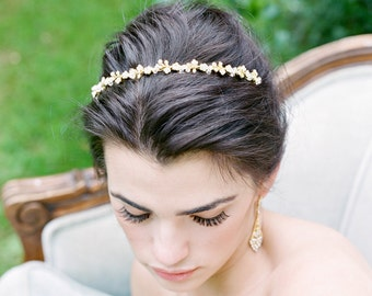 Crystal Thin Bridal Headband MINA Swarovski Bridal Tiara Thin Crystal Headband Silver Wedding Headband Gold Headband Silver Tiara Headband
