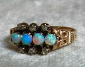 Opal Ring Opal Engagement Ring Antique 14K Rose Cut Diamond Ring Aesthetic Period Art Nouveau Semi Black Opal Ring October Birthstone Libra