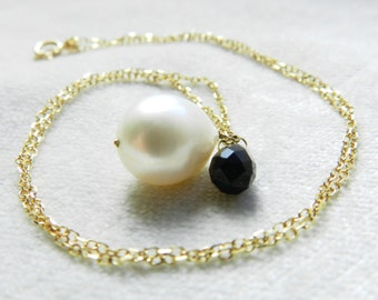 Pearl Necklace 14K White 11 mm Baroque Pearl and Onyx Pendant Necklace June Birthday Gift Unique Necklace