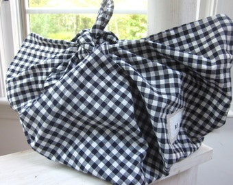 Furoshiki Cloth with Braided furoshiki strap - Vintage Navy Blue Plaid fabric Handbag/Shoulder bag/Messenger Bag/Reusable Shopping bag/Wrap
