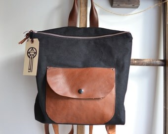 Mini Pack- Canvas Leather Backpack