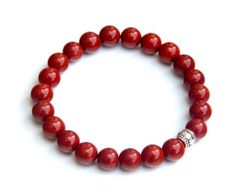 Red jasper bracelet, red jasper jewelry, red jasper bracelets, red jasper beads, simple red jasper bracelet, red jasper
