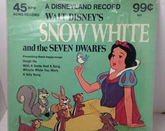 Vintage Disney 45 RPM Record Snow White