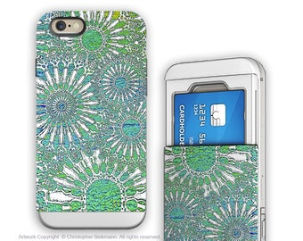 Turquoise iPhone 6 6s Card holder Case with Abstract Art - Ocean Lace - Credit Card Apple iPhone 6s Case with Rubber Sides