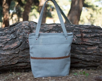 Waxed canvas bag - Waxed canvas tote bag -Grey canvas laptop bag - LARYS