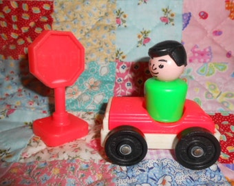 Fisher Price Little People Man/Car/Stop Sign