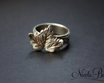 Fine Silver Autumn Maple Leaf Ring UK M U.S 6.5